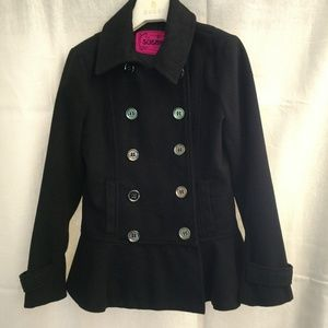 Sugarfly Size Medium Girls' Stylish Black Pea Coat